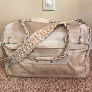 BCBGMaxAzria braided leather & suede weekender bag